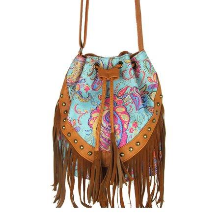 Women Vintage Floral Printed Fringe Casual Crossbody Bag