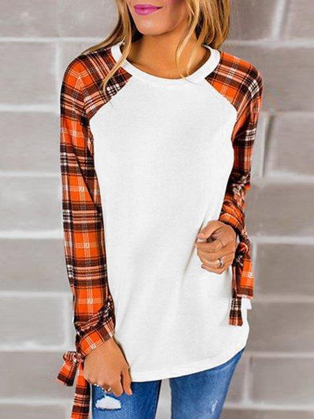 White Cotton-blend Long Sleeve Paneled T-Shirt