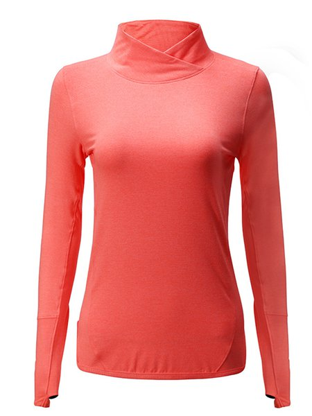Cotton-blend Long Sleeve Turtleneck Solid Sports T-Shirt