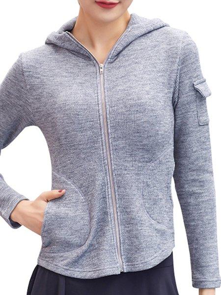 Gray Long Sleeve Hoodie Solid Zipper Jacket