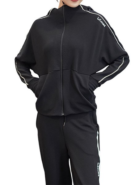 Solid Long Sleeve Sports Zipper Two Piece Women's Co-ord