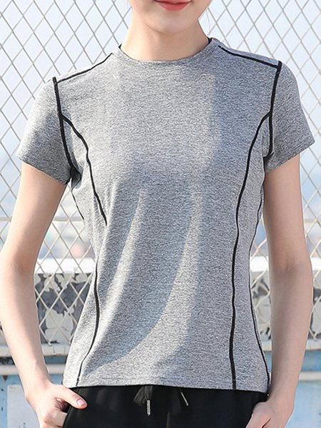 Sports Solid Short Sleeve T-Shirt