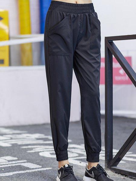 Black Cotton-blend Sports Paneled Pants