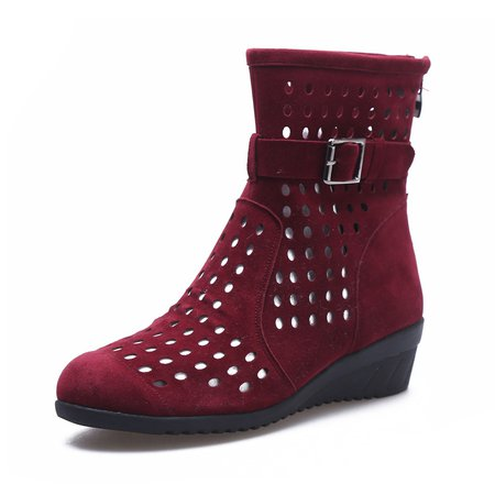 Suede Hollow-out Casual Wedge Heel Boots