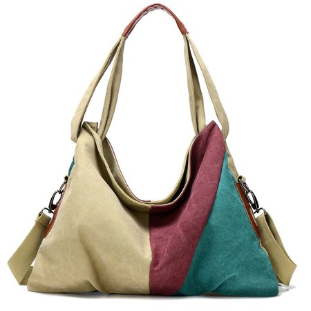 Chic Color-block High Capacity Canvas Outdoor Shopping Shoulder Bag Crossbody Bag