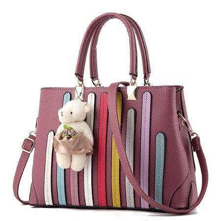 Ladies Elegant Stripe Cute Bear Pendant Decoration PU Tote Bag Crossbody Bag