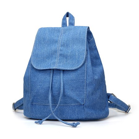 Women Simple Casual Canvas Drawstring Backpack School Bag