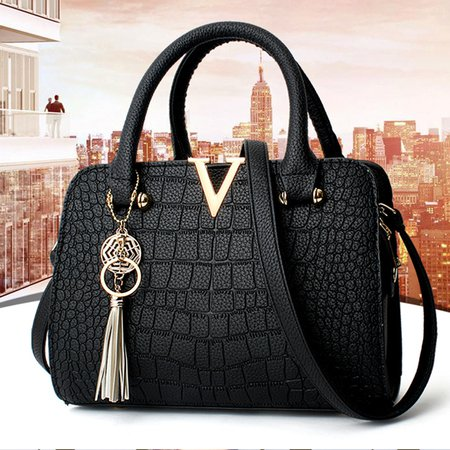Crocodile Skin Elegant PU Tassl Pendant Dating Shopping Tote Bag Crossbody Bag