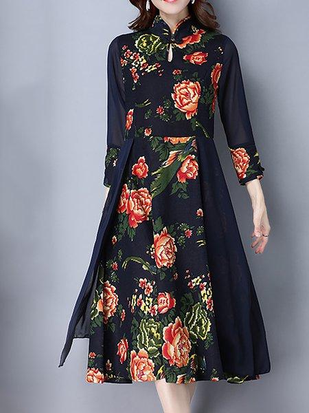 Long Sleeve Cotton-blend A-line Stand Collar Dress