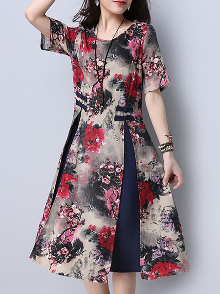 Cotton-blend Long Sleeve Floral-print Vintage Dress