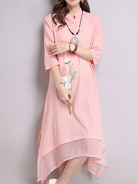 Stand Collar Asymmetric Solid Long Sleeve Dress
