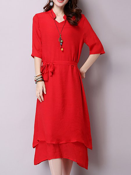 Vintage Asymmetric Long Sleeve Dress