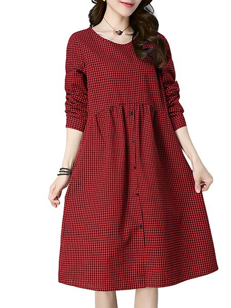 Women Casual Dress Crew Neck Long Sleeve Checkered/Plaid Dress