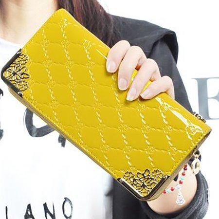 Elegant Embossed PU Leather Zipper Clutches Bag Phone Purse Wallet