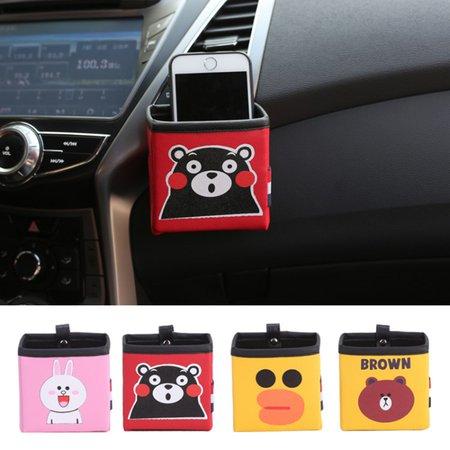 Multi-functional Auto Air Vent Car Storage Pu Cartoon Pattern Phone Casual Bag