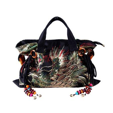 Vintage Exquisite Embroidery Sequins Phenix Pattern Lager Handbag Shoulder Bag