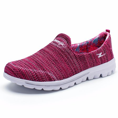 Breathable Knitted Fabric Slip On Hiking Sneakers