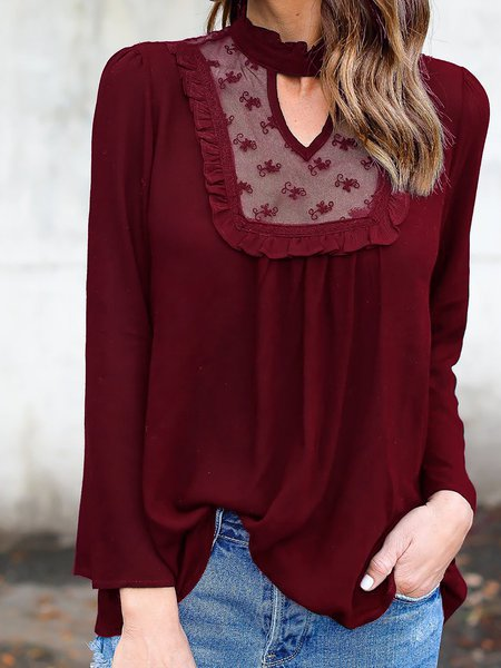 Polyester Long Sleeve Stand Collar Blouse