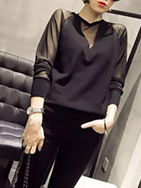 Solid Casual Mesh Long Sleeve Crew Neck Blouse