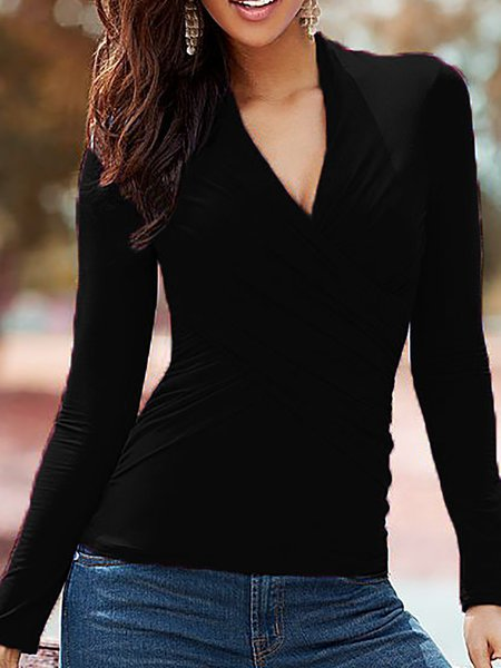 Solid Cotton-blend Long Sleeve Casual V Neck Blouse