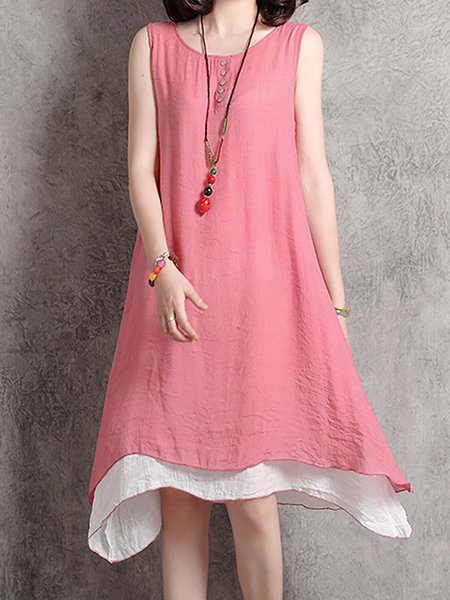 Women Casual Dress Daily Sleeveless Solid Dress