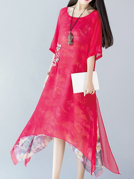 Women Elegant Dress A-line Daily Embroidered Solid Dress