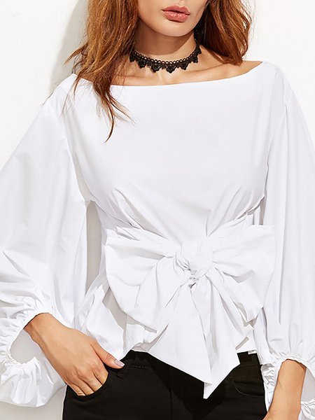 Bow Casual Balloon Sleeve Cotton-blend Blouse