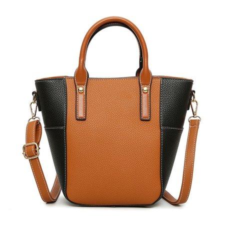 Women Color-blocks Elegant PU Leather Tote Bag Crossbody Bag