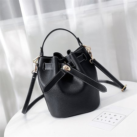 Women Chic 2PCS PU Leather Casual Bucket Handbag Crossbody Bag