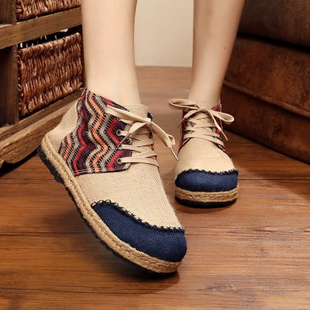 Color Block Daily Lace-up Linen Boots