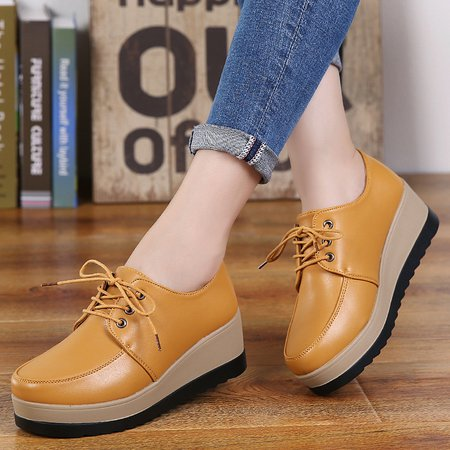 Casual Microfiber Leather Lace-up Wedge Heels Loafers
