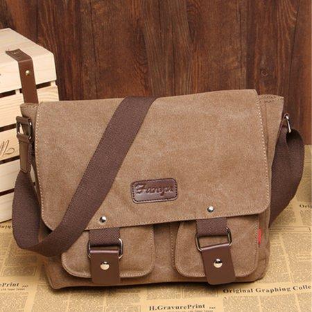 Men Stylish Cavans Multi Pockets Casual Crossbody Bag