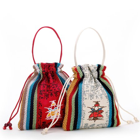 Embroidery Canvas Ethnic Style Retro Drawstring Storage Bag