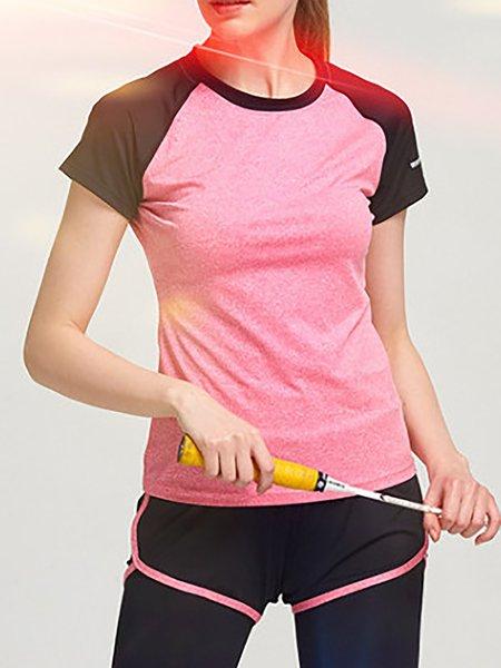 Crew Neck Paneled Acrylic Short Sleeve T-Shirt