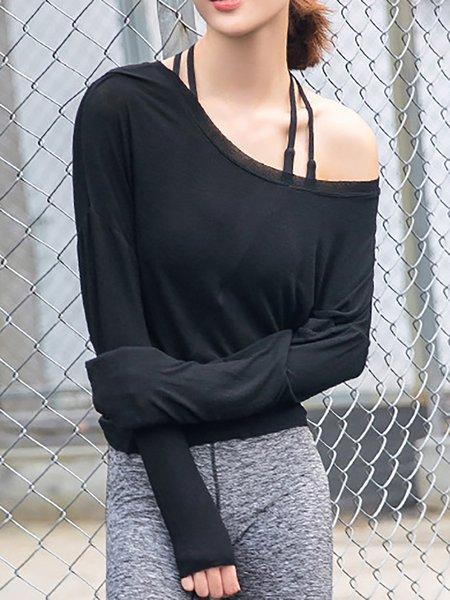 Cotton-blend Solid Long Sleeve T-Shirt