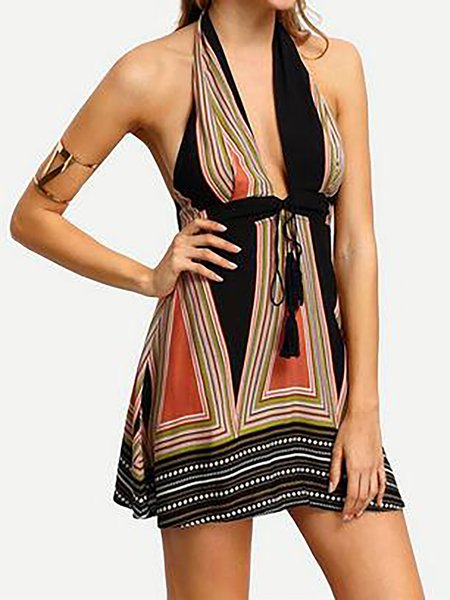 Fringed Sleeveless Sexy A-line Dress