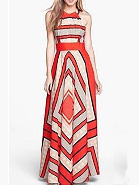 Sleeveless Casual Halter Dress