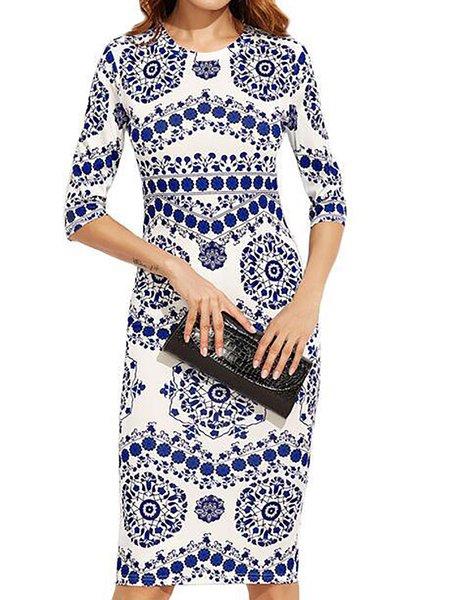 Floral-print Half Sleeve Floral Dress