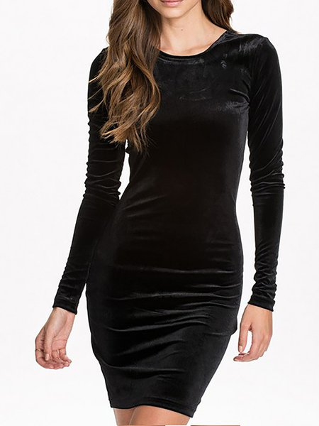 Solid Crew Neck Long Sleeve Sexy Dress