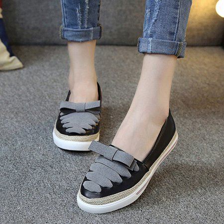 Bowknot Daily Slip On PU Loafers