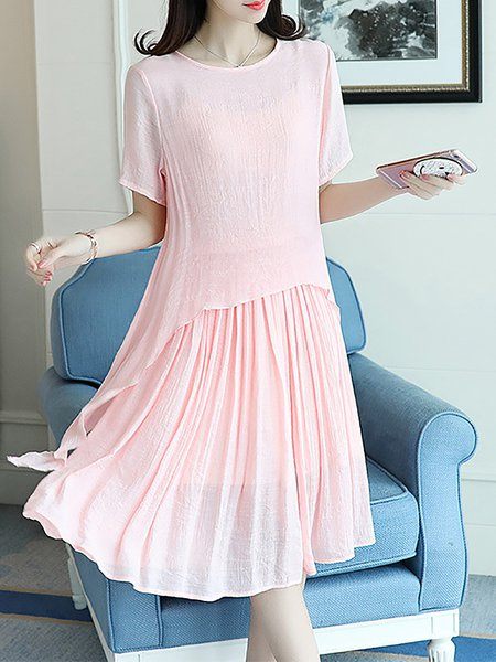 Women Casual Dress Crew Neck Going out Short Sleeve Solid Dress