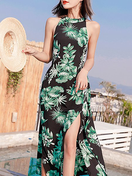 Sleeveless Casual Floral Dress
