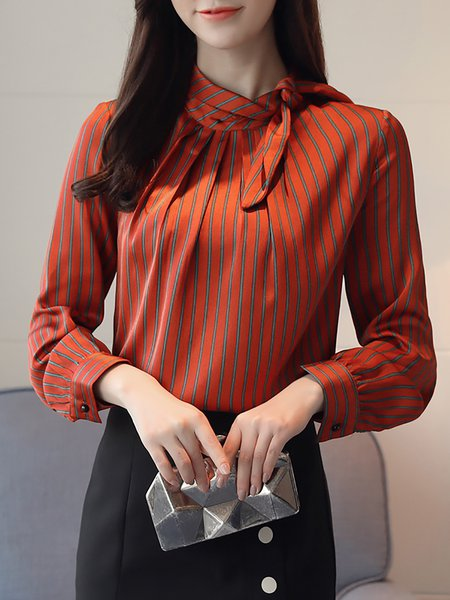 Tie-neck Long Sleeve Stripes Blouse
