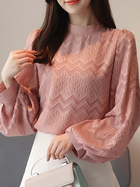 Casual Chiffon Solid Stand Collar Blouse