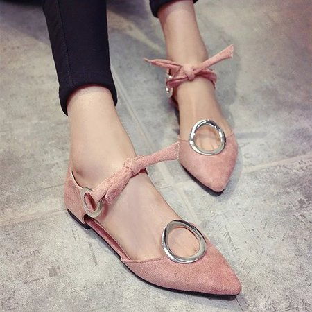 Elegant Flocking Bow-knot Lace-up Flats