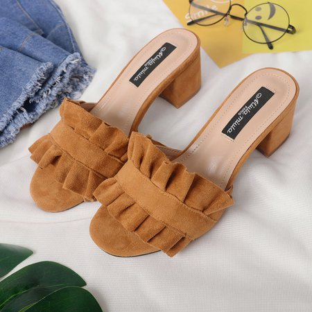 Elegant Flocking Ruffles Chunky Heel Slippers