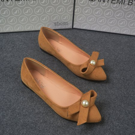 Bowknot Daily Flocking Faux Pearl Flats