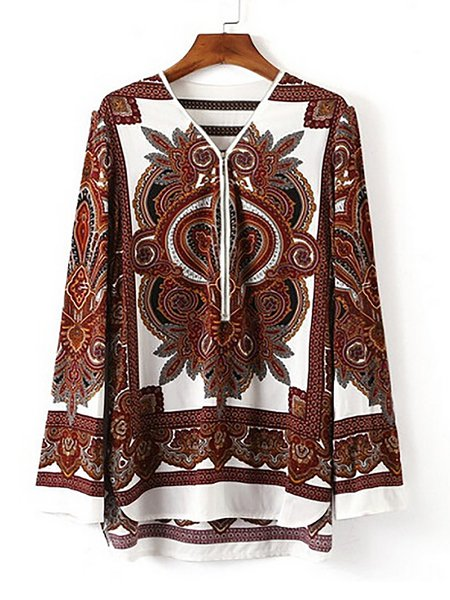 Coffee Graphic Polyester Elegant Long sleeve Painted Zipper Blouse