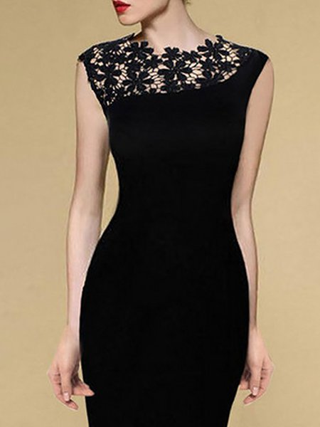 Black Women Elegant Dress Crew Neck Bodycon Elegant Floral Dress