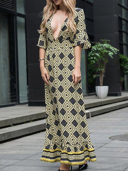 Casual A-line Geometric Half Sleeve Dress